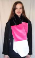 Multi Coloured Striped Fur Scarf in Pink, Black and Ivory